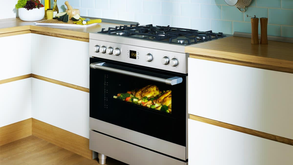A stainless steel range with a big oven