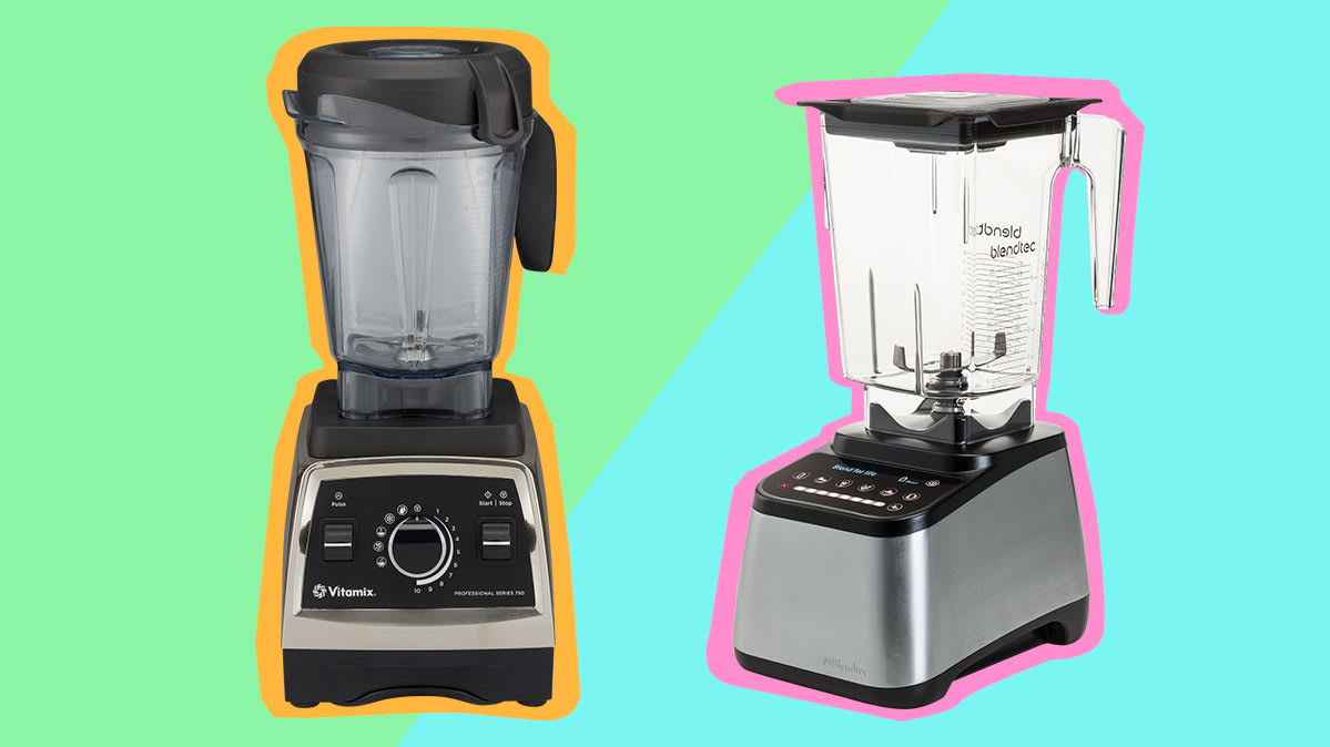 The Vitamix Professional Series 750 blender appears on the left, and the Blendtec Designer 725 blender is on the right.