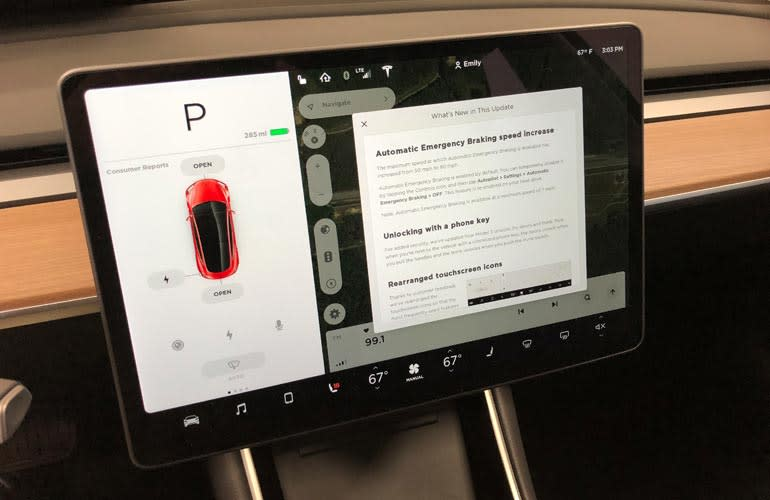 CR's Tesla Model 3, showing notes about its most recent update.
