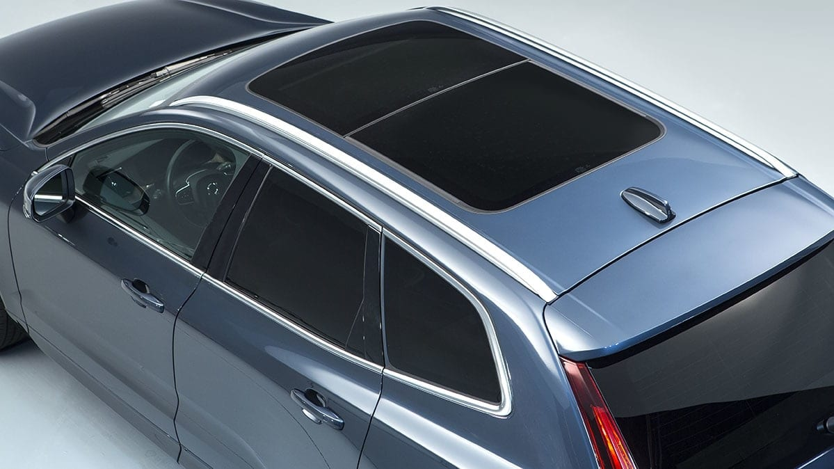 Volvo XC60 sunroof. Volvo says it is using laminated glass in its sunroofs.