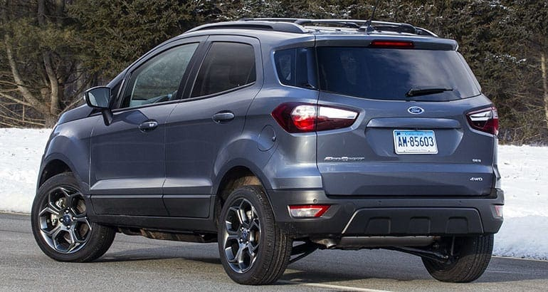 2018 Ford EcoSport SUV rear.