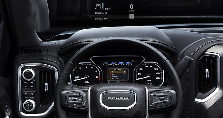 2019 GMC Sierra interior showing the new head-up display