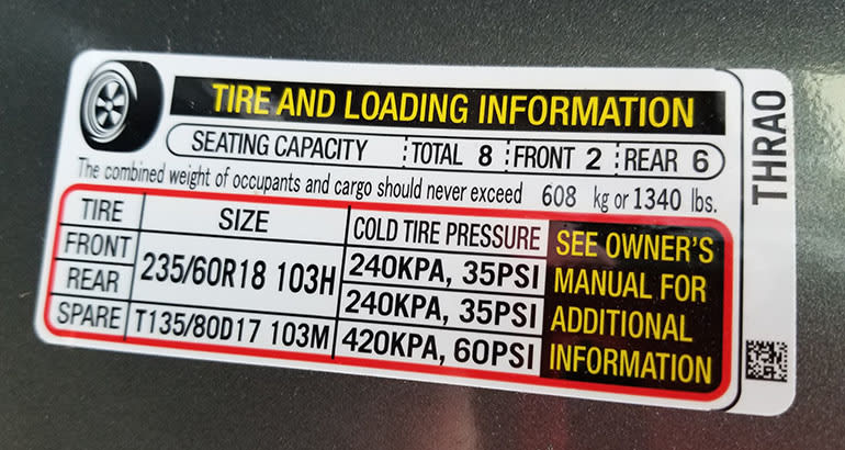 check the placard for tires when buying a car
