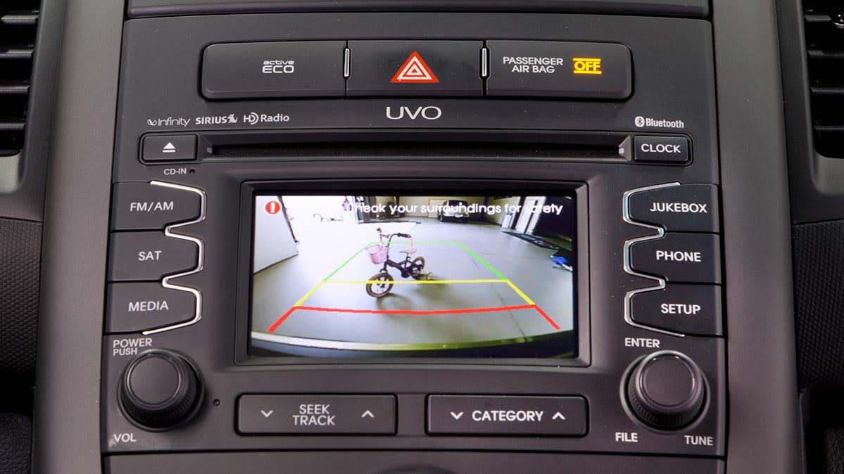 Car safety is aided by rearview camera on a Kia vehicle.