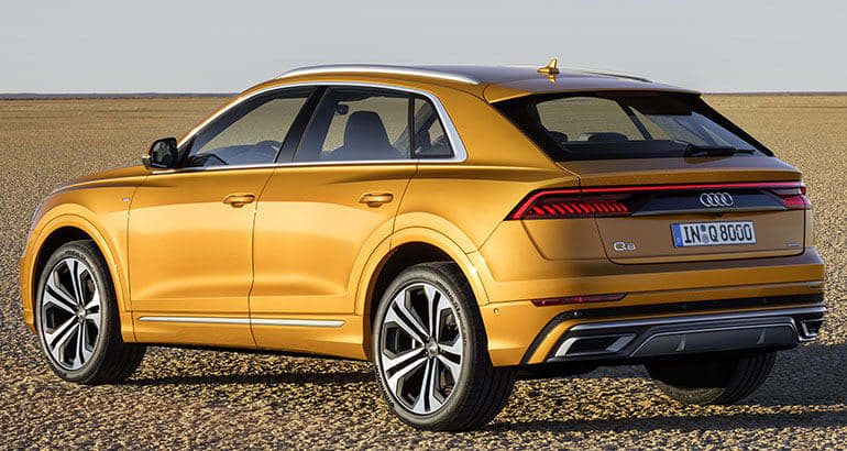 Rear three-quarter view of 2019 Audi Q8 SUV