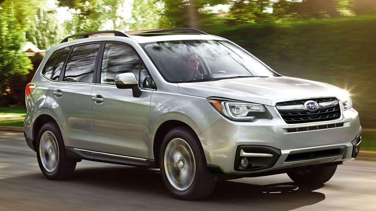 2018 Subaru Forester front three-quarter view.