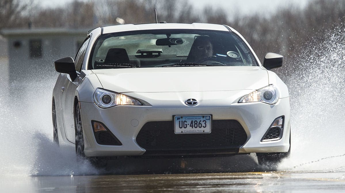 A car being tested for Tire Traction in Wet Weather