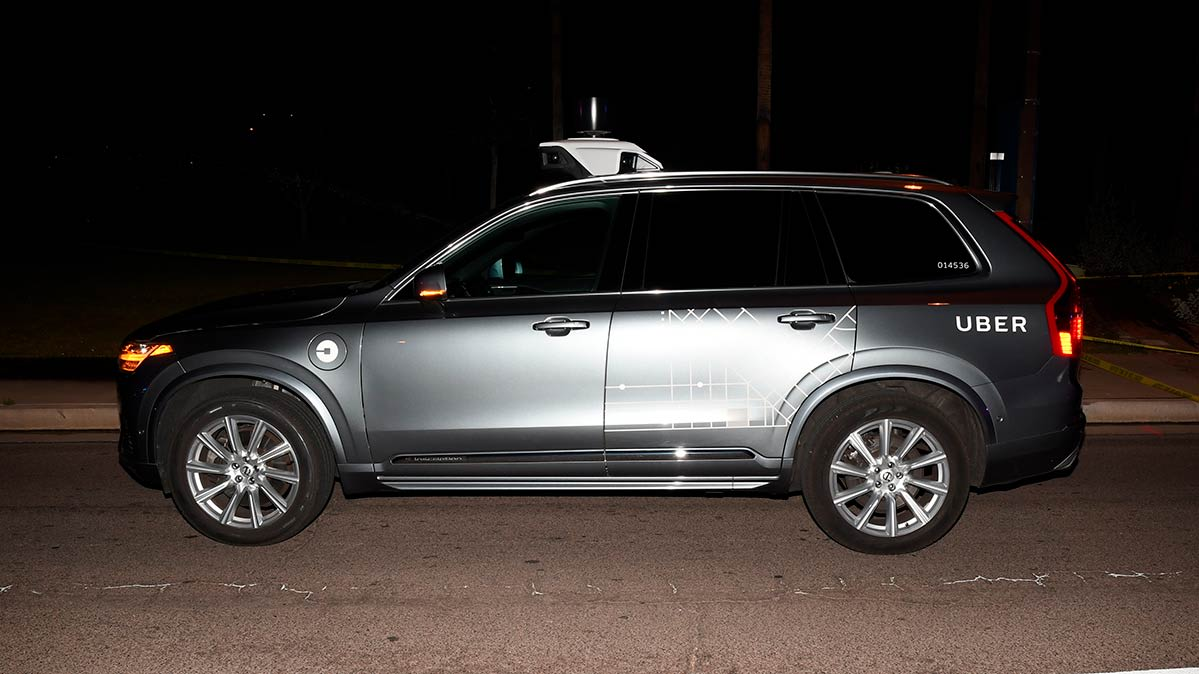 A self-driving Uber test car SUV that was involved in a fatal crash in Arizona.