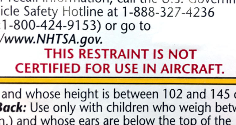 Booster Not Certified for Use in Aircraft