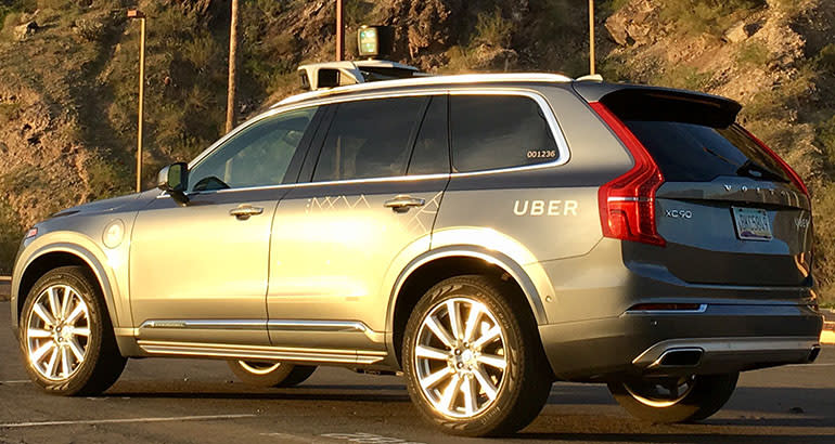 Self-driving Uber Volvo XC90 rear