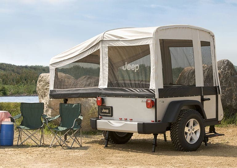 Jeep pop-up trailer.