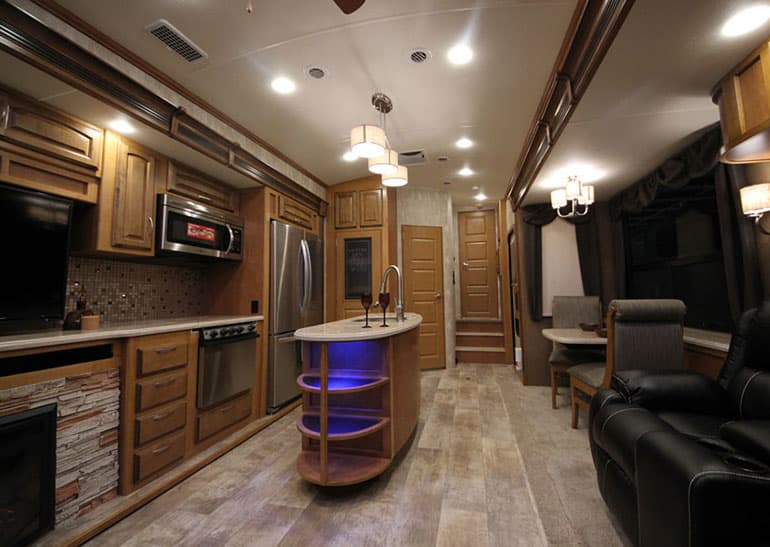 Winnebego fifth-wheel trailer interior.