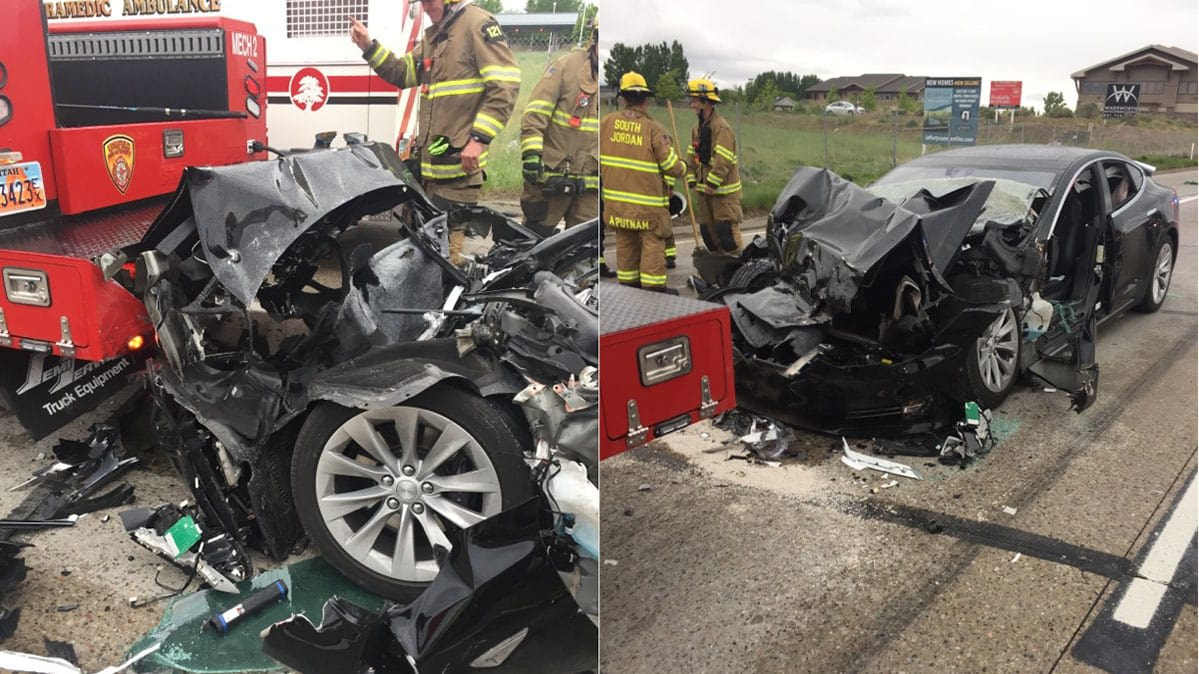 The 2016 Tesla Model S that crashed into a fire truck in South Jordan, Utah, while on autopilot — autonomous car crash.