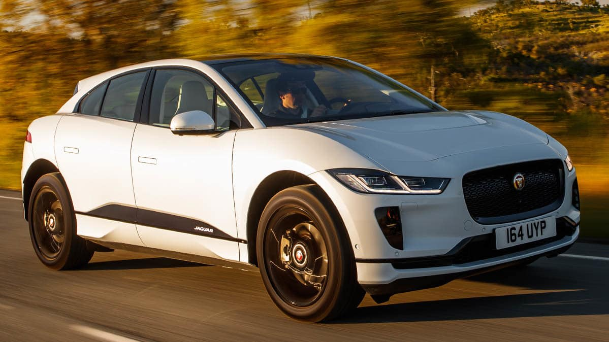 The Jaguar I-Pace in motion — it's an upcoming EV that's a Tesla competitor