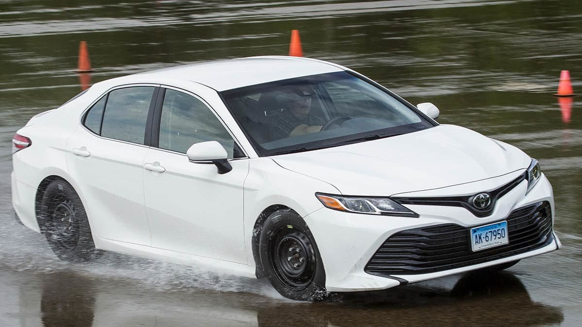 A Toyota Camry used to test for the best car tires at the Consumer Reports test track.