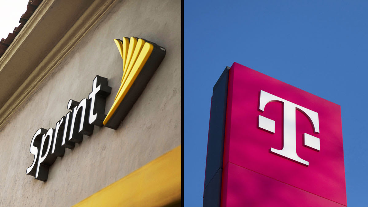 T-Mobile and Sprint logos for story on their proposed merger