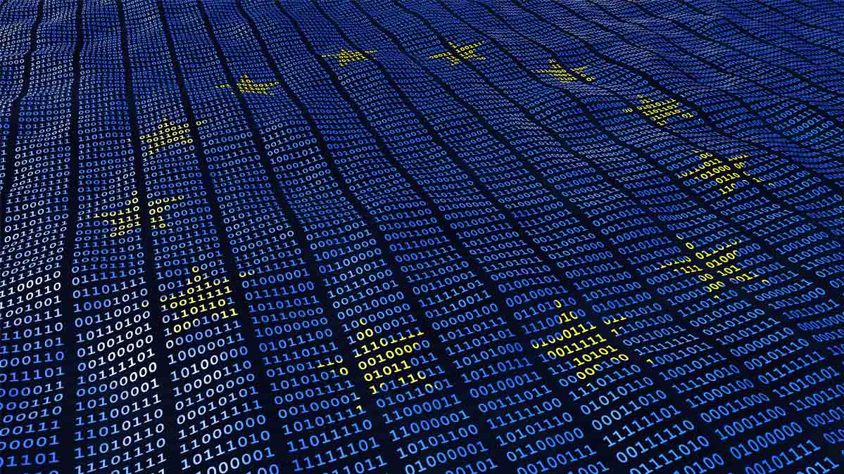 European flag with zeros and ones to represent digital data