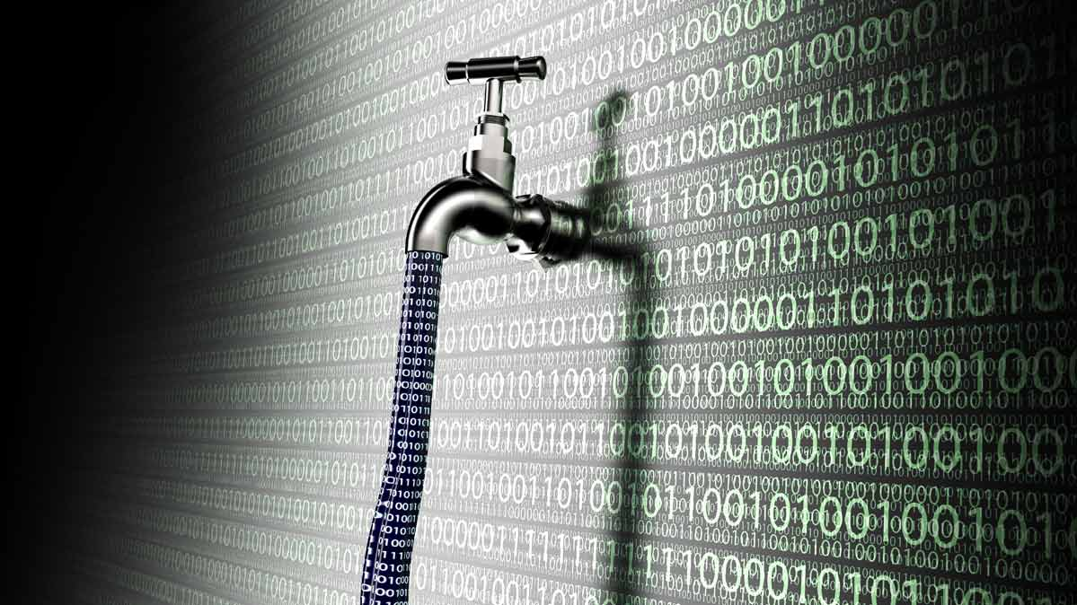 An illustration depicting data breach epidemic with a faucet leaking consumer data
