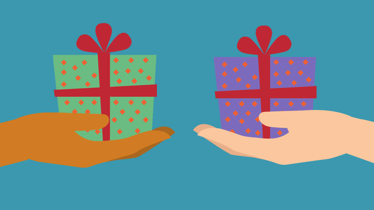 An illustration of two people exchanging holiday gifts