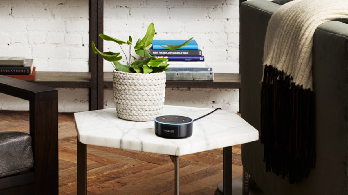 Amazon Echo Dot in a living room setting