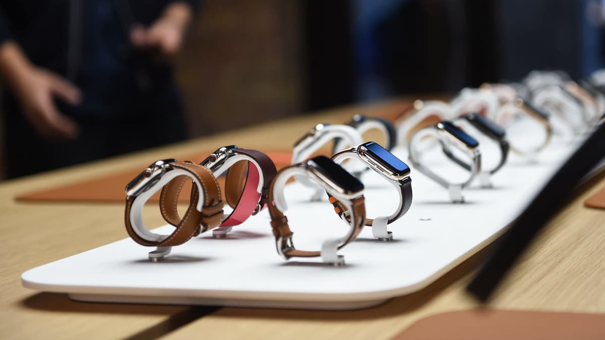 Apple watches on display in an Apple Store.