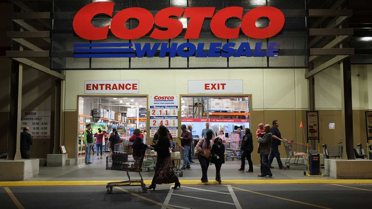 The entry to a Costco store