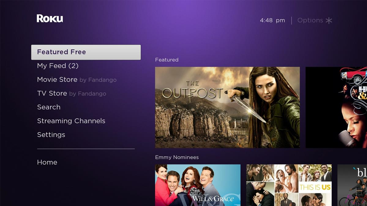 The Roku streaming media interface.