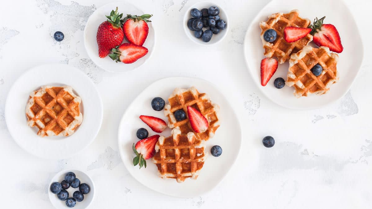 Healthy waffles on a plate.