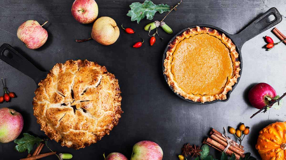 Apple and pumpkin pie are common holiday foods.