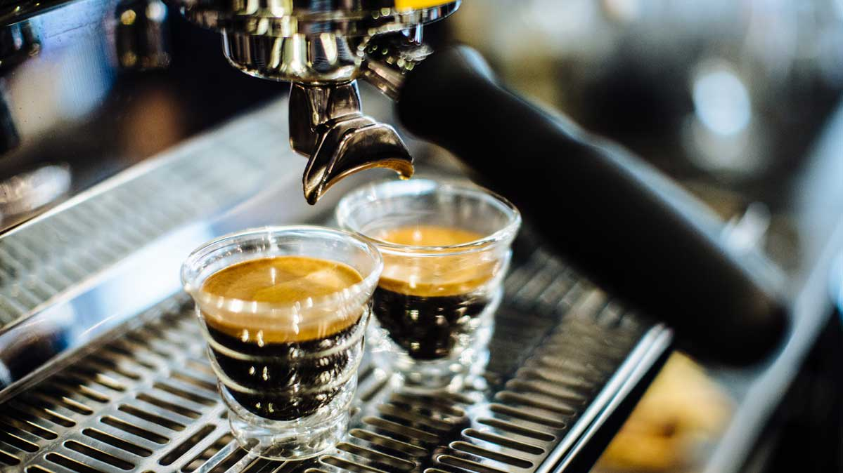 Two shots of freshly made espresso.