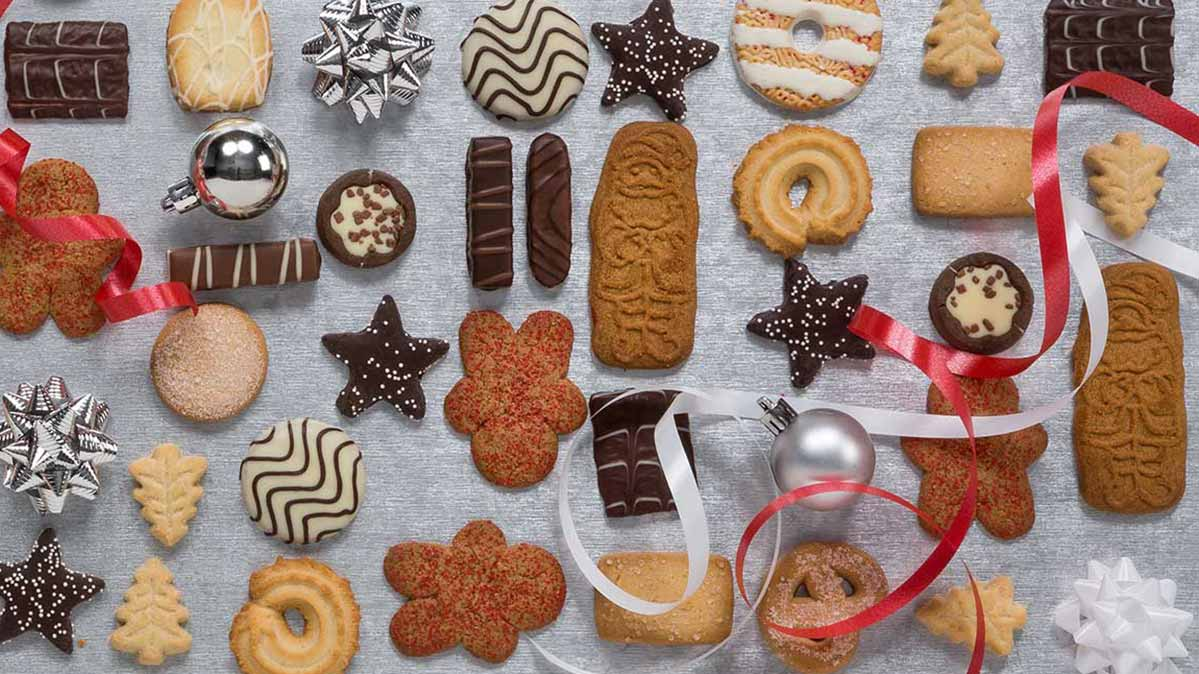 An assortment of Christmas cookies.