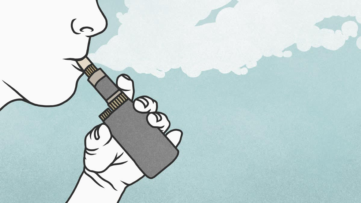 Illustration of a person vaping an e-cigarette.