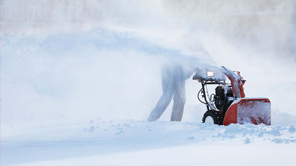 A snow blower hard at work