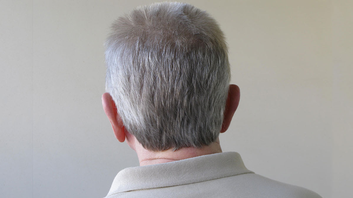 A man's head with gray hair