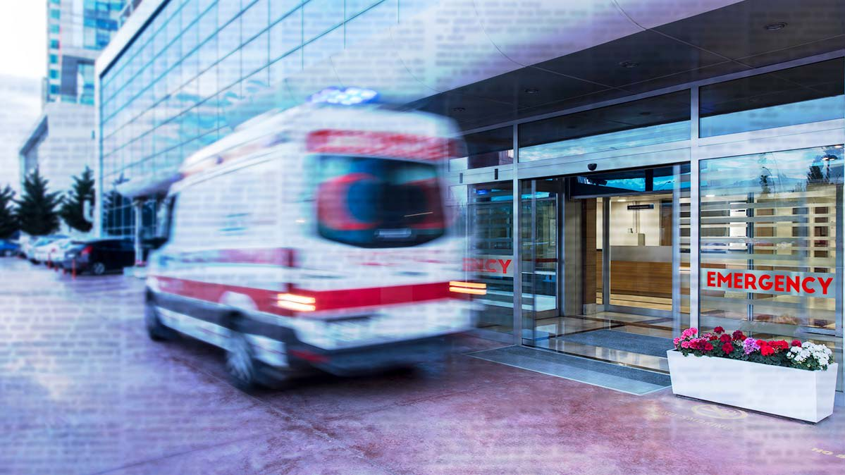 Illustration of ambulance outside an emergency room.