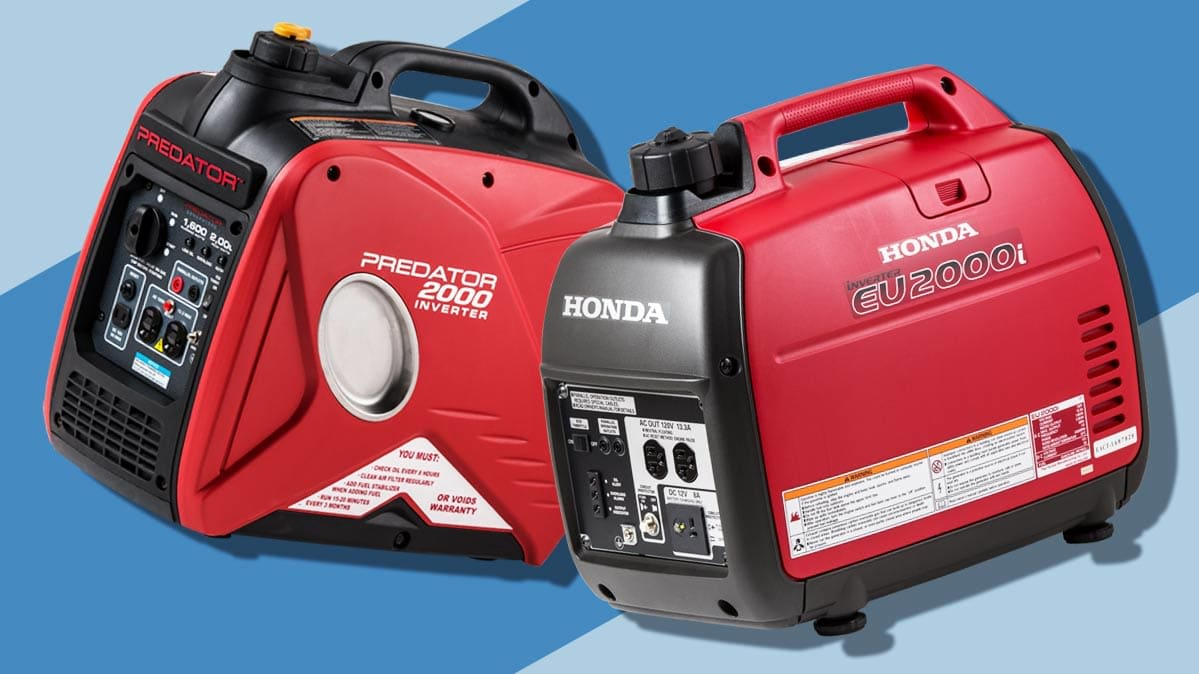 A Harbor Freight Generator (left) and a Honda generator