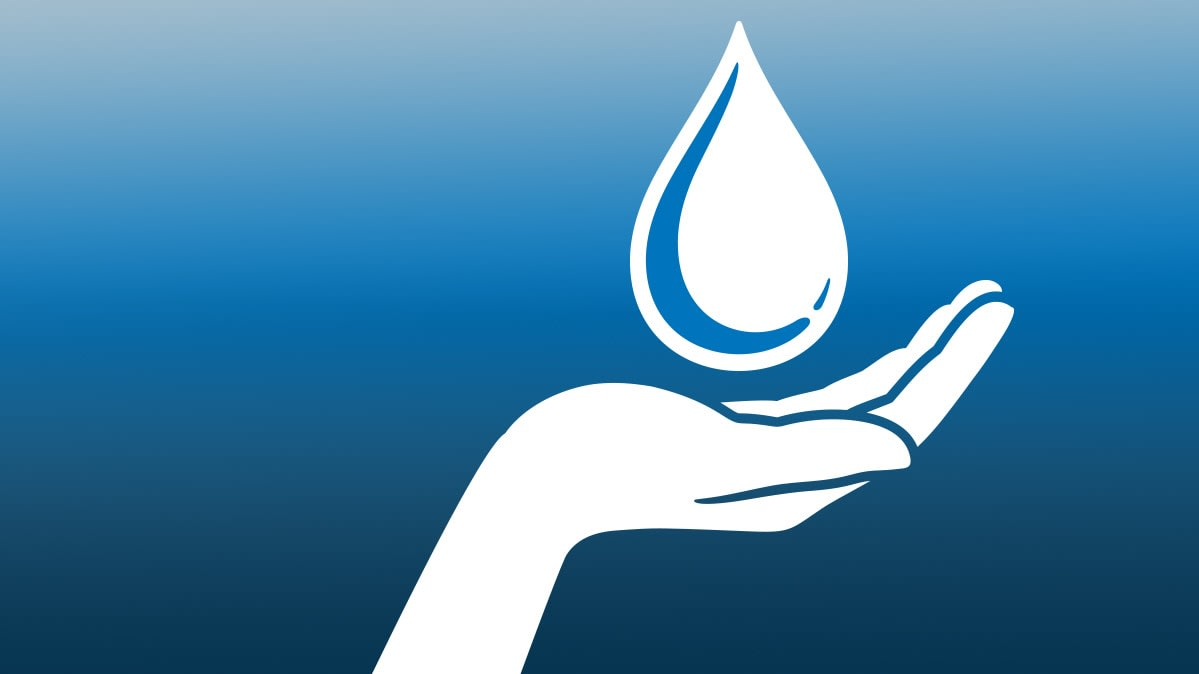 An illustration of a hand with a drop of water