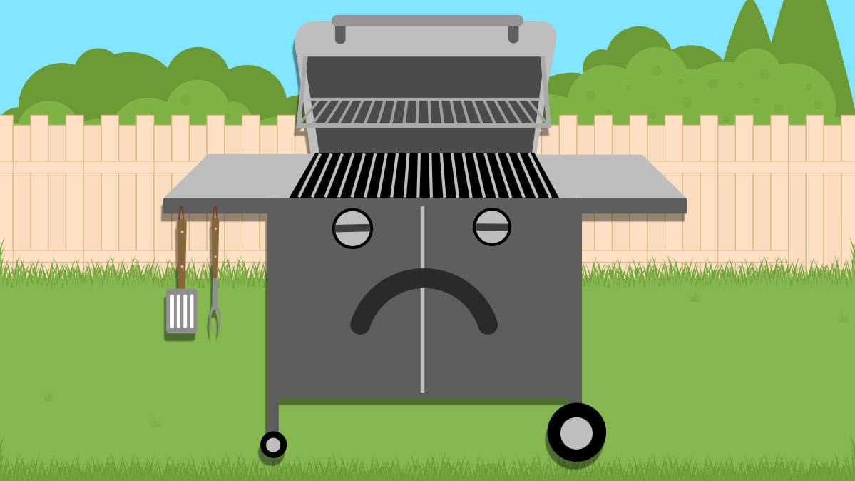 Gas grill repairs illustration.