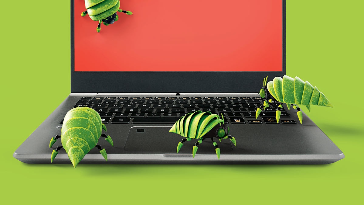 An illo of bugs on a computer.