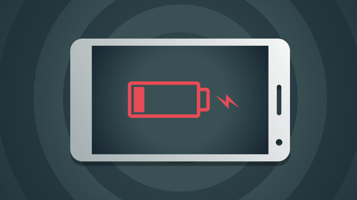 A smartphone battery symbol showing that the phone is dead.