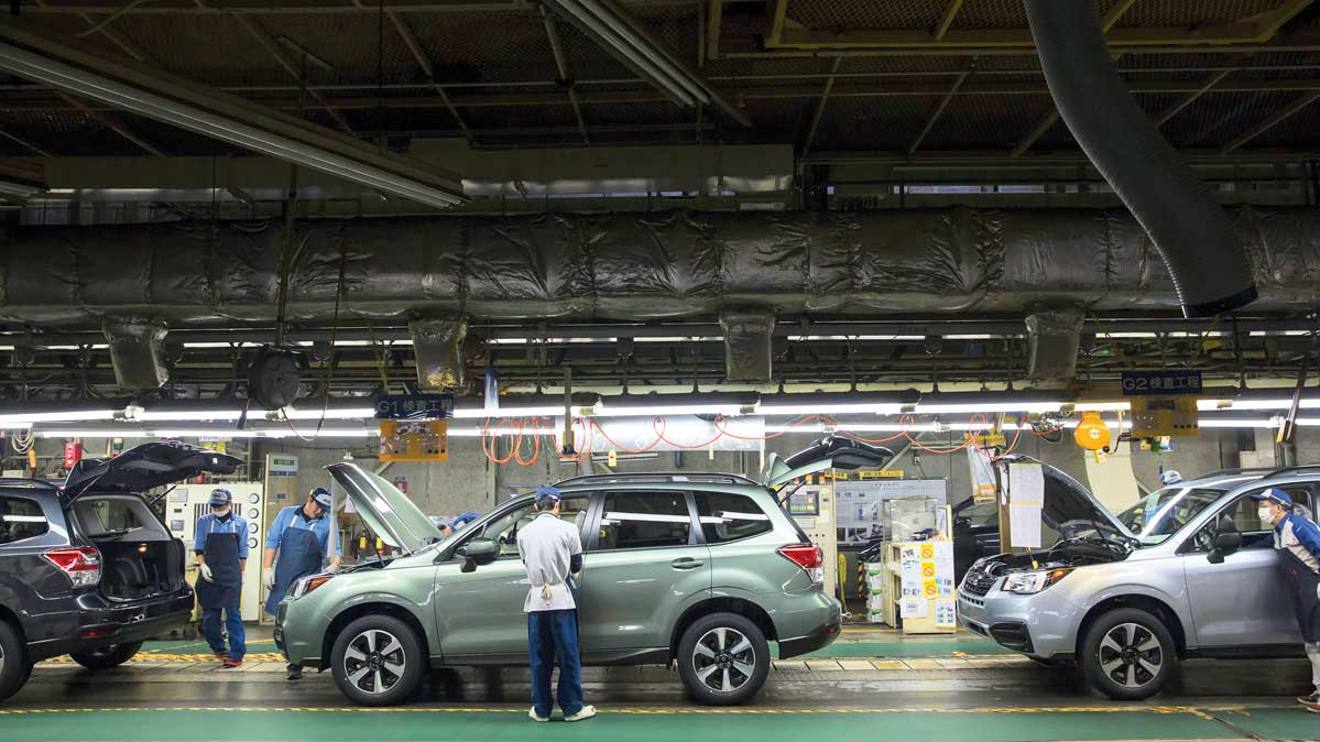 A Subaru Forester on the assembly line.