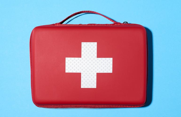 A first-aid kit, which can help you stay comfortable on long drives.