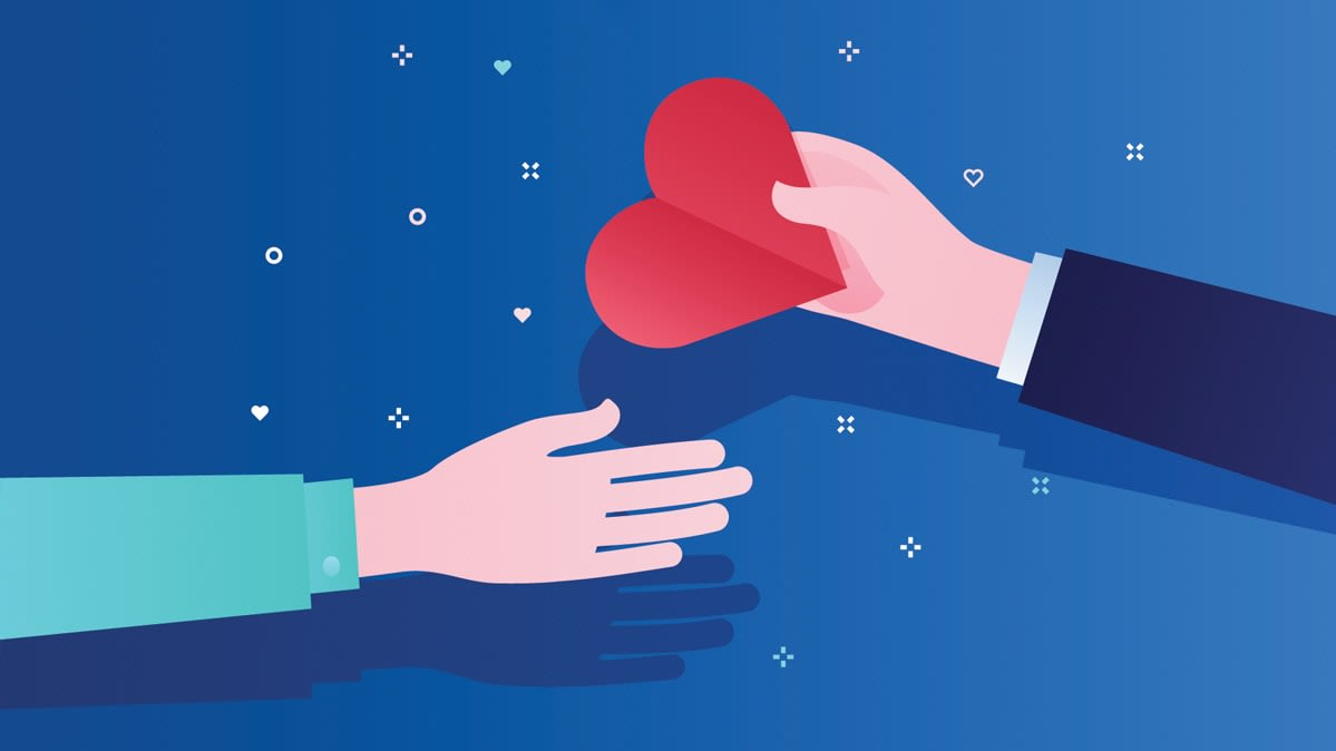 Illustration of a person handing a heart to another person
