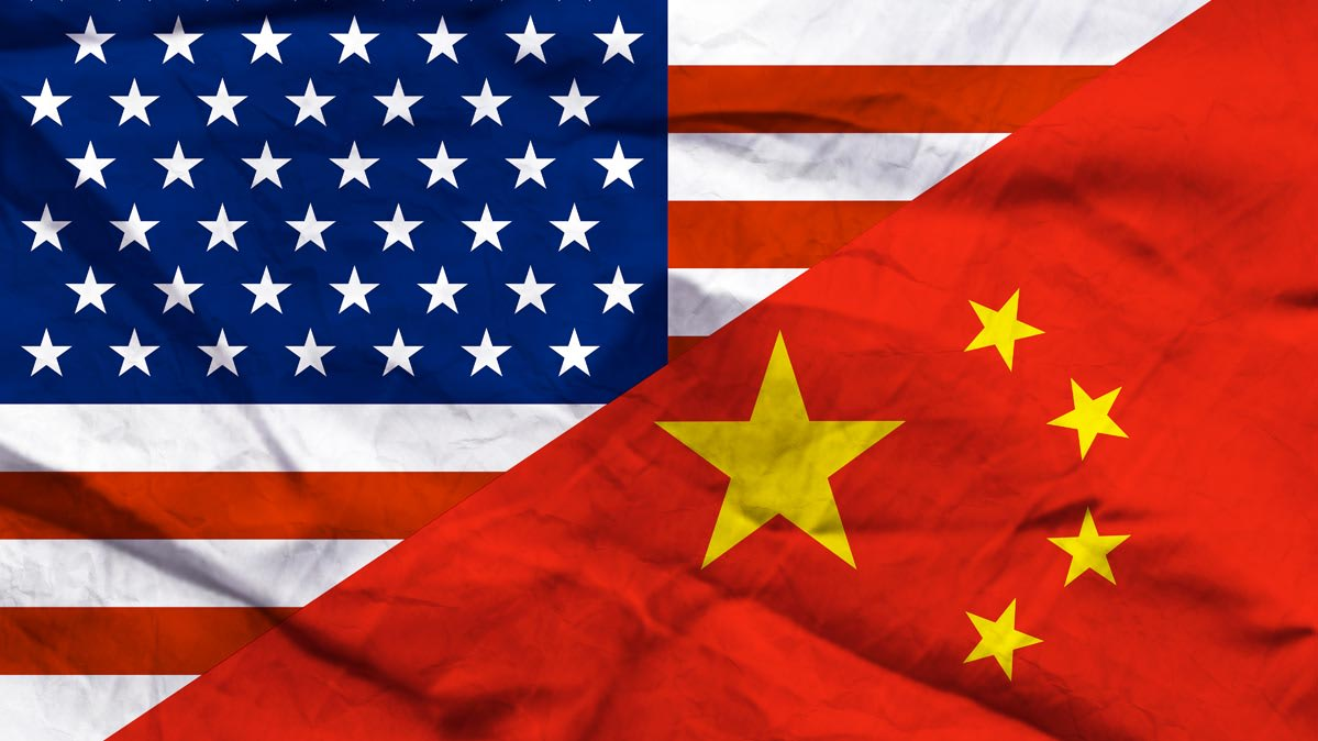 An illustration of a U.S. flag and a Chinese flag