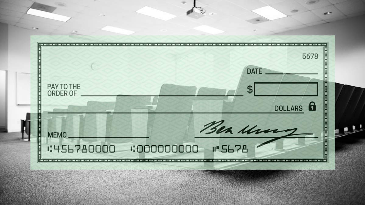 Illustration of a check used to pay for college