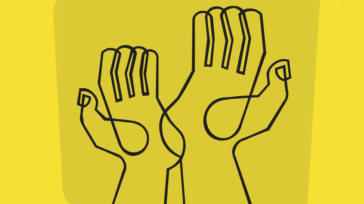 A line drawing of two hands reaching up for an article on how to vet charities.