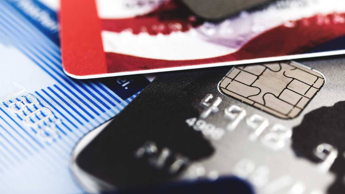 A photo of credit and debit cards