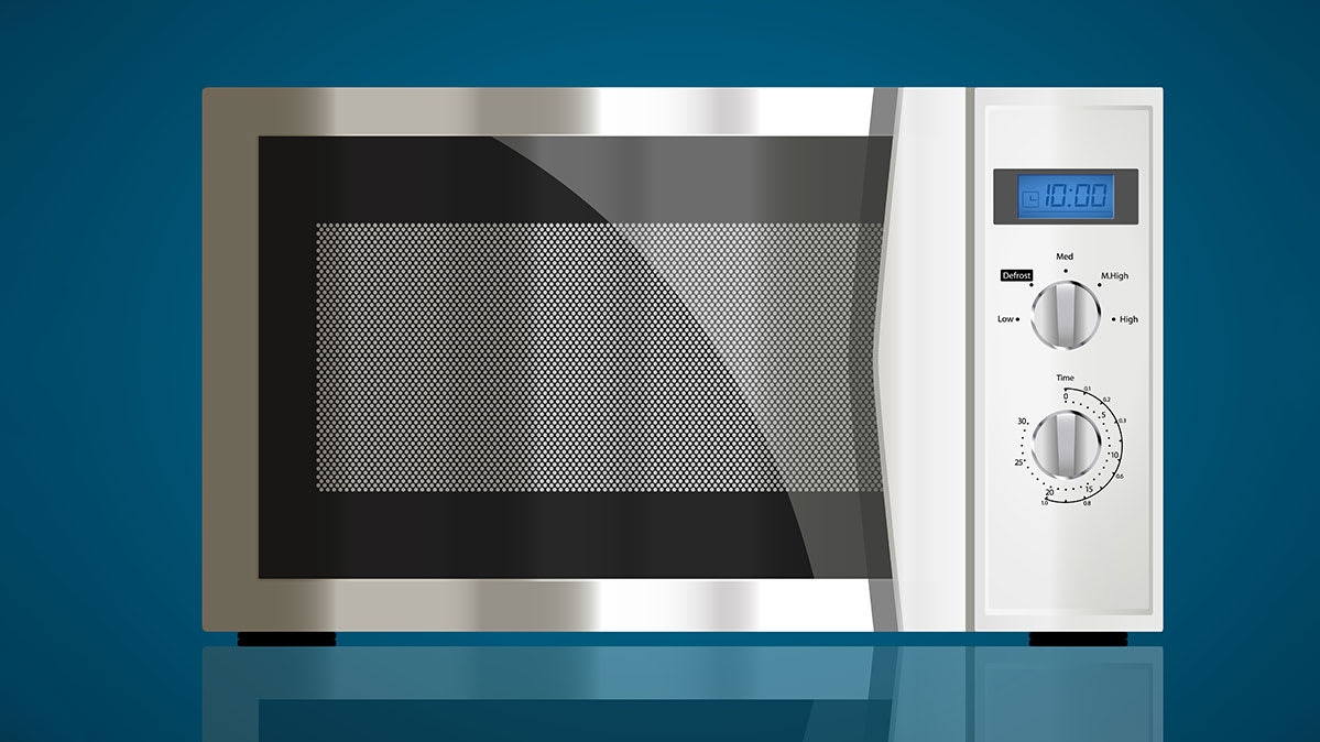 A stainless steel countertop microwave