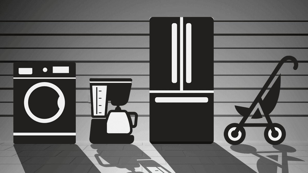 An illustration of various home products, including a washing machine and a coffee maker