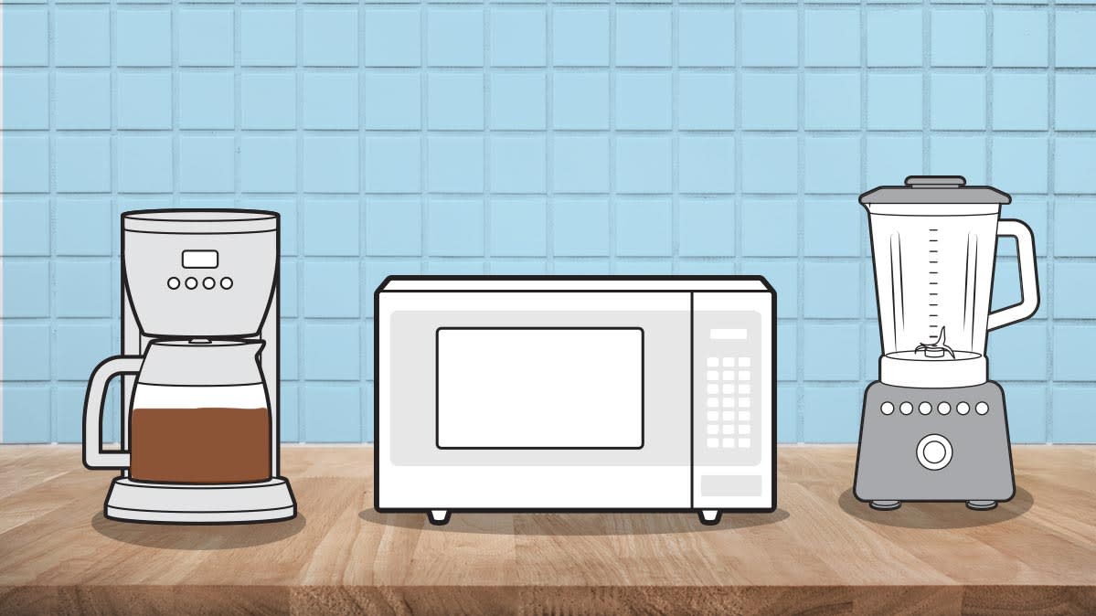 An illustration of several appliances for a small kitchen.
